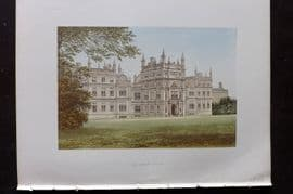 Morris Seats 1860's Antique Print. Corsham Court